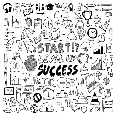 Business doodle set. Drawing vector illustration hand drawn Vettoriali