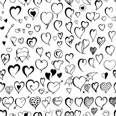 Heart doodle background seamless pattern. Drawing vector illustration hand drawn