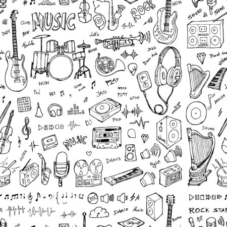 Party doodle background seamless pattern. Drawing vector illustration hand drawn Vetores