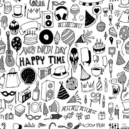 Party doodle background seamless pattern. Drawing vector illustration hand drawn Vektoros illusztráció