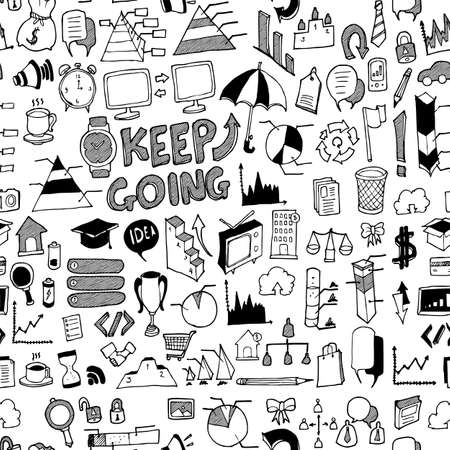 Business doodle background seamless pattern. Drawing vector illustration hand drawn