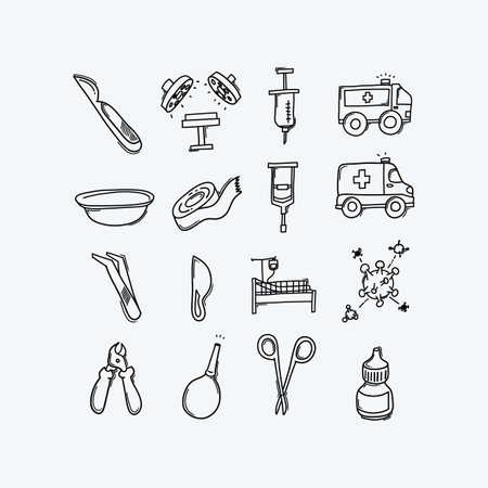Health vector doodle icons set. Drawing sketch illustration hand drawn line. Vektorgrafik