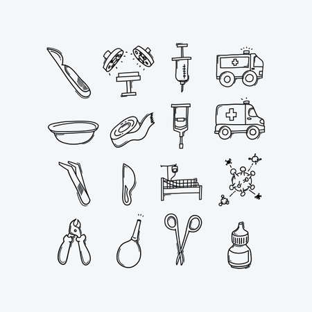 Health vector doodle icons set. Drawing sketch illustration hand drawn line. Vector Illustratie