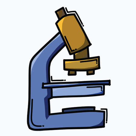 Microscope doodle color vector icon. Drawing sketch illustration hand drawn line.