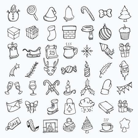 Christmas hand drawn icon illustration line art doodle. Vektoros illusztráció