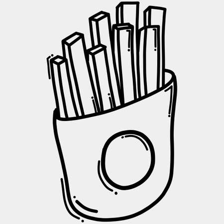 French fries doodle vector icon. Drawing sketch illustration hand drawn line.