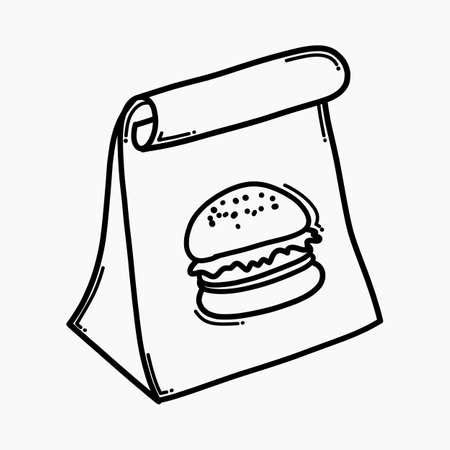 Food bag doodle vector icon. Drawing sketch illustration hand drawn line.