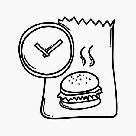 Food bag time doodle vector icon. Drawing sketch illustration hand drawn line.