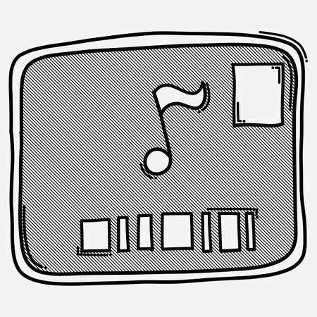 Audio and subtitle on screen doodle vector icon. Drawing sketch illustration hand drawn line.