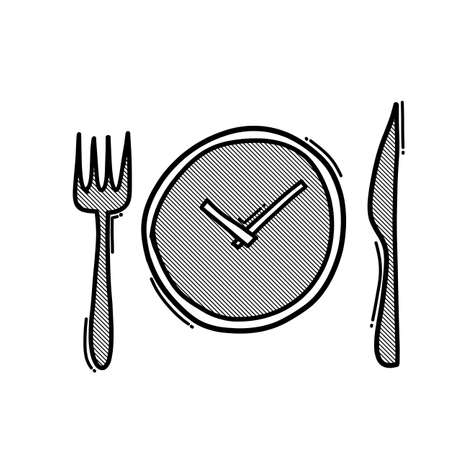Food clock doodle vector icon. Drawing sketch illustration hand drawn line.