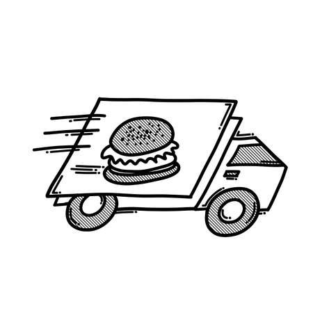 Food truck delivery doodle vector icon. Drawing sketch illustration hand drawn line.