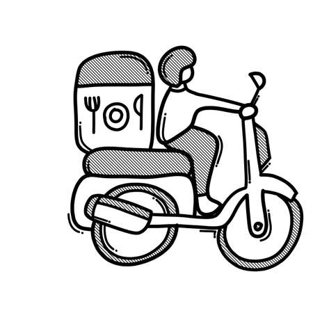 Food delivery doodle vector icon. Drawing sketch illustration hand drawn line.
