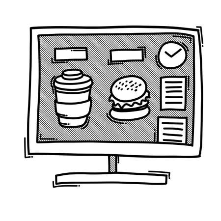 Food website doodle vector icon. Drawing sketch illustration hand drawn line. Ilustração