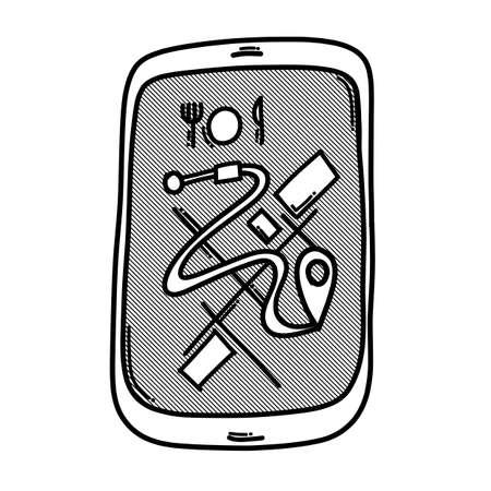 Mobile app food delivery doodle vector icon. Drawing sketch illustration hand drawn line. Ilustração