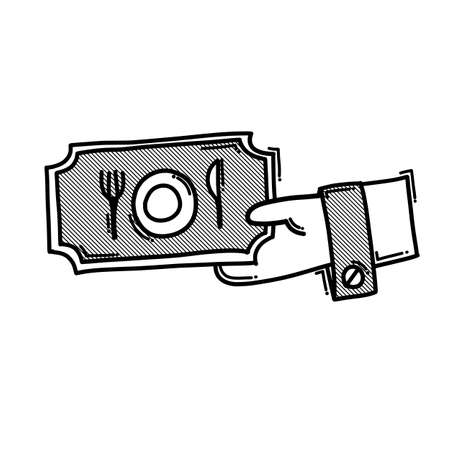 Food coupon doodle vector icon. Drawing sketch illustration hand drawn line.