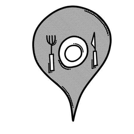 Restaurant map location doodle vector icon. Drawing sketch illustration hand drawn line.