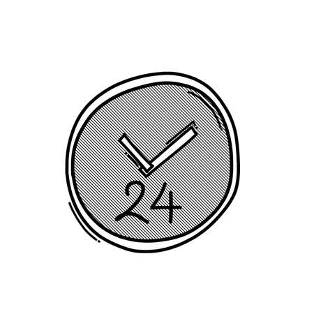24 hour doodle vector icon. Drawing sketch illustration hand drawn line.