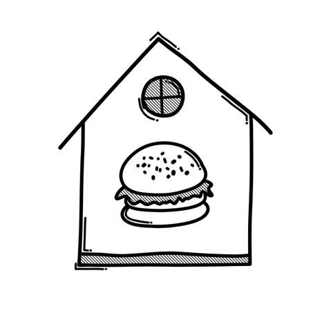Hamburger at house doodle vector icon. Drawing sketch illustration hand drawn line. Ilustração