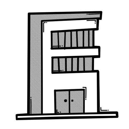 House building doodle vector icon. Drawing sketch illustration hand drawn line.