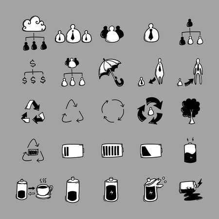 Business vector doodle icons set. Drawing sketch illustration hand drawn line.