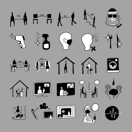 social distancing vector doodle icons set. Drawing sketch illustration hand drawn line. Ilustração