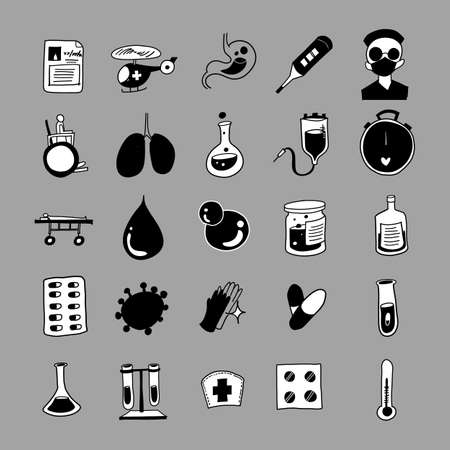 Health vector doodle icons set. Drawing sketch illustration hand drawn line.