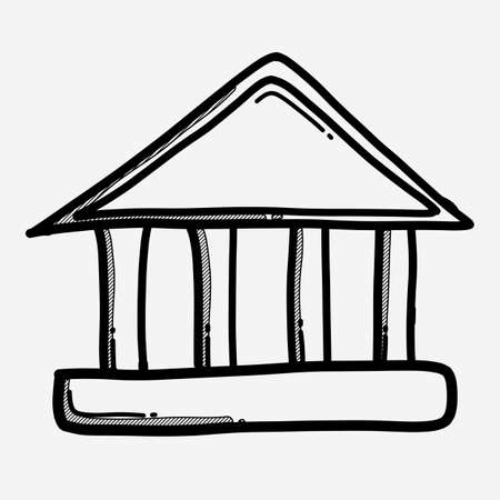 Bank building doodle vector icon. Drawing sketch illustration hand drawn line.