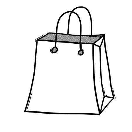 Shopping bag doodle vector icon. Drawing sketch illustration hand drawn line.