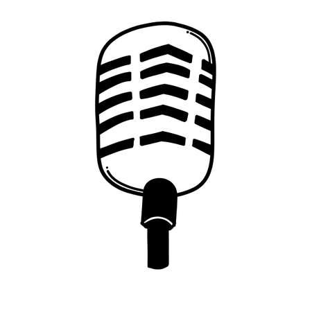 microphone doodle vector icon. Drawing sketch illustration hand drawn line. Ilustración de vector