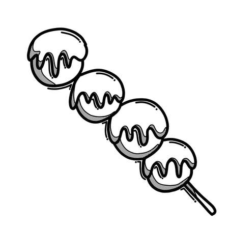 Meatball stick doodle vector icon. Drawing sketch illustration hand drawn line.