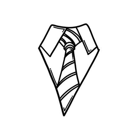 Necktie Doodle vector icon. Drawing sketch illustration hand drawn cartoon line.