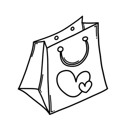 Shopping bag Doodle vector icon. Drawing sketch illustration hand drawn cartoon line.
