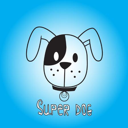 super dog: Vector image of dog on blue background. Its good for animation, pet shop, pet house, pet clinic, dog care, or other pet activity. Illustration