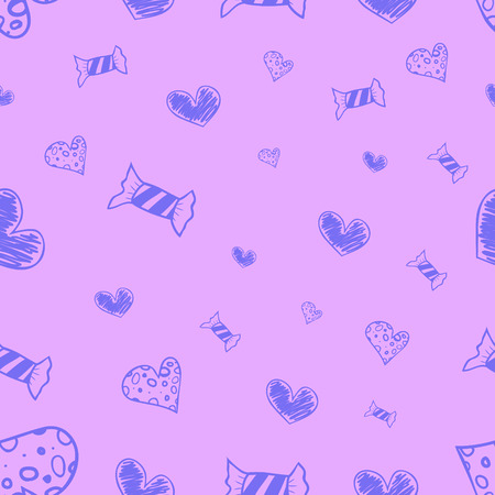 toffee: Seamless candies and hearts pattern Hand drawn color doodles