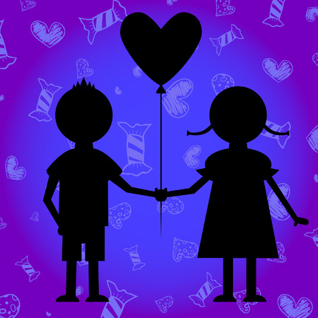 heartshaped: Silhouettes of boy and girl with heart-shaped  baloon.