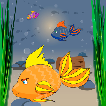 underwater fishes: Illustration of the underwater world with a funny fishes
