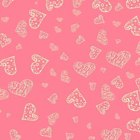 toffee: Seamless  hearts pattern Hand drawn color doodles Illustration