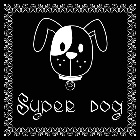 super dog: Vector image of dog on black background. It is good for animation, pet shop, pet house, pet clinic, dog care, or other pet activity.