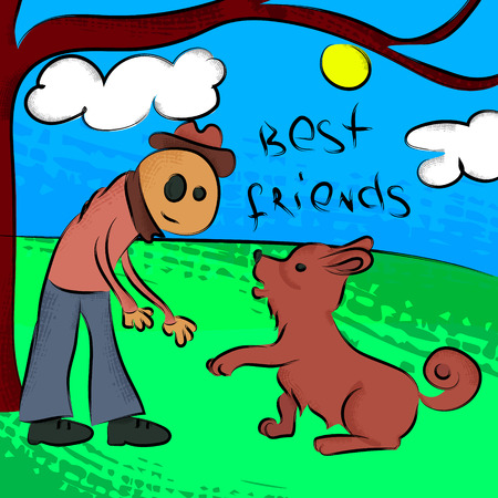 dog walking: Man walking with dog. Illustration