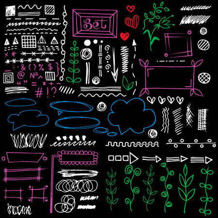 separation: Set of different graphic elements in doodle style. Hand-drawn elements - arrows and stripes,  floral ornament, hearts, separation, strokes and other symbols