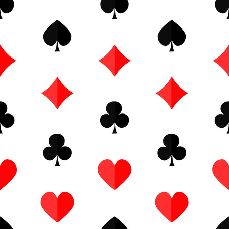 wrap vector: Seamless poker background with suits hearts diamonds clubs spades Vector illustration.