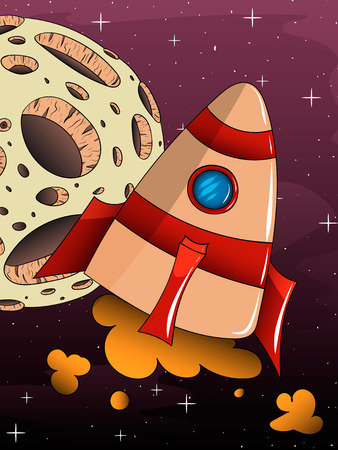 booster: Illustration of a cartoon rocket spaceship with space background and planets and stars Illustration