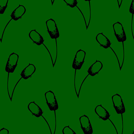 bulrushes: Seamless pattern with bulrushes illustration green background Illustration