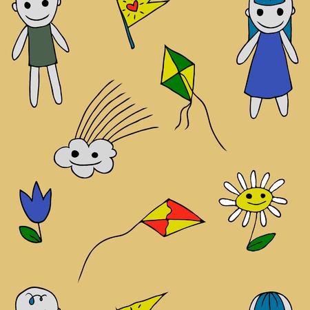 kite flying: seamless pattern with flower kite flying cloud boy girl. illustration. vector