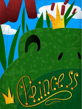 principe rana: princesa de la rana verde con la corona en el fondo de cañas Vectores
