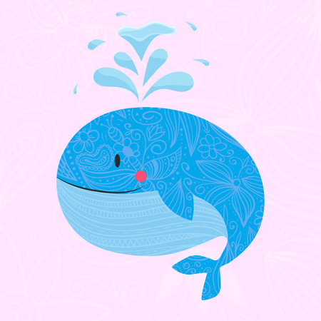 foe: Whale with font. illustration of whale with fountain. Use foe baby shampoo, textile or your design