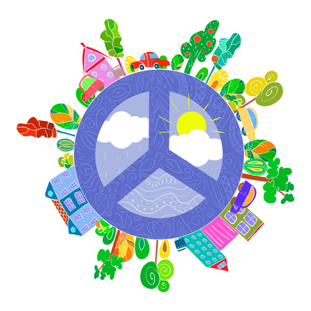 religion  herb: peaceful bright planet, peaceful city vector illustration Illustration