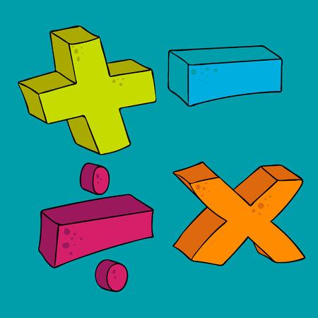 multiply: dibujado a mano alzada s�mbolos matem�ticos de dibujos animados m�s volumen multiplicar dividir menos