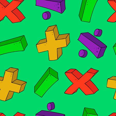 multiplicar: dibujado a mano alzada símbolos matemáticos de dibujos animados más menos multiplican brecha patrón transparente volumen