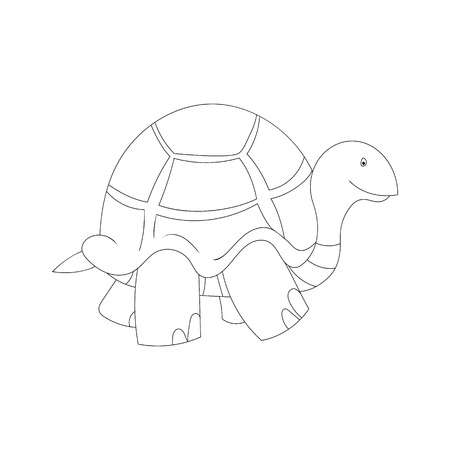 Black and white illustration of cartoon turtle in sneakers